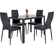 chair dining. best choice products 5 piece kitchen dining table set w/ glass top and 4 leather chair