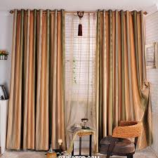 bohemian orange and green striped french country curtains