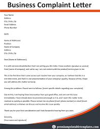 Complain Business Letter Business Complaint Letter Business Letter Template