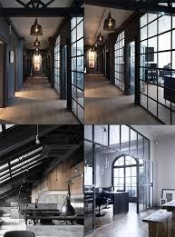 loft style office. amazing industrial modern office space dark interior design decor loft style o