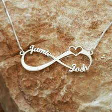 silver infinity love necklace wedding gift heart pendant bridal shower gift family name necklace heart necklace sign of infinity