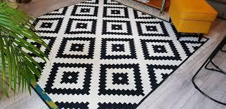 lapplung ruta ikea rug black white 200cm x 200cm