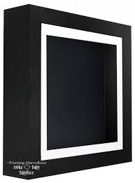 black shadow box deep display 3d wooden frame square choose size
