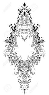 vintage frame tattoo designs. Vector - Vintage Baroque Victorian Frame Border Monogram Floral Ornament Leaf Scroll Engraved Retro Flower Pattern Decorative Design Tattoo Black And White Designs A