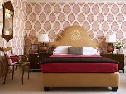 Stylish Bedroom With Wallpaper And Wall Mirror Also Have Good Furniture  Arrangement