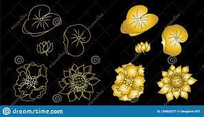 золотой цветок вектора лотоса для печати на бумаге и для дизайна