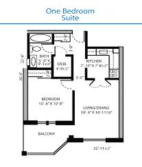 One Bedroom Balcony Suite Floor Plan Of The One Bedroom Suite Quinte Living Centre