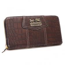 Coach Accordion Zip In Croc Embossed Large Coffee Wallets CCP