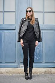 dressy outfit in all black jeans and leather jacket street style