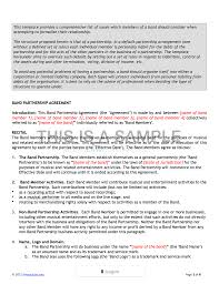 Agreement Templates Business Contract Template Band Agreement Template