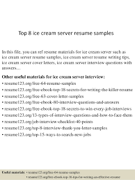 examples of server resumes top 8 ice cream server resume samples