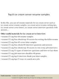 Ice Cream Server Top 8 Ice Cream Server Resume Samples