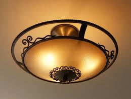 wrought iron ceiling lamp glass