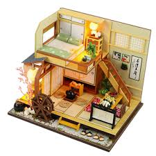 bolehdeals diy dollhouse miniature kit japanese style forest little house with furniture toy kids gift