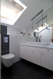 sloped ceiling lighting powder room contemporary with angled ceiling black and