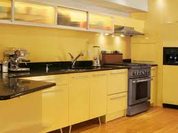 kitchen with yellow wall paint