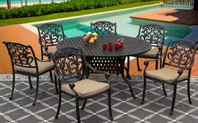 flamingo cast aluminum outdoor patio 7pc set 60 inch round