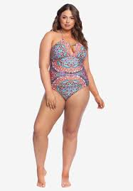 Kenneth Cole Plus Size Swimwear Size Chart High Neck Halter One Piece By Kenneth Cole Reaction Plus