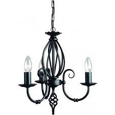 artisan 3 light chandelier fitting in a black finish