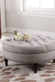 round upholstered ottoman coffee table collection palfrey beige linen modern tufted ottoman on hautelook 7