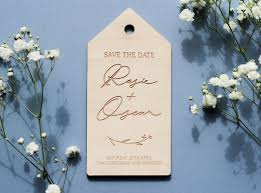 personalised wooden save the date tags