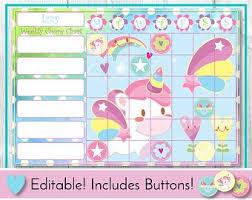 Unicorn Editable Chore Chart Reward Chart Behaviour And