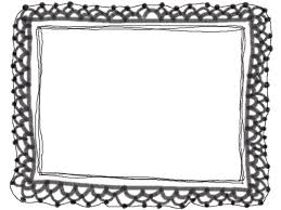 フリー素材フレーム飾り枠640480pixモノクロの大人かわいい手編み