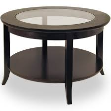 round wood coffee table with glass top in dark espresso