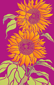 large sunflowers stencil henny