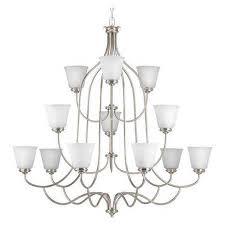 keats 12 light 3 tier chandelier 75 w brushed nickel