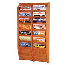 magazine rack office. wooden mallet mr3614 wallmounted 14pocket magazine rack office f