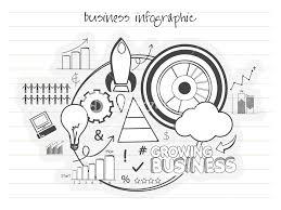 Creative Startup Doodle Infographics Having Bulb Rocket