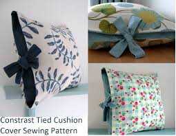 Contrast tied cushion cover sewing tutorial