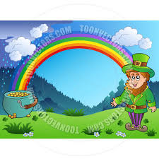 cartoon leprechaun with rainbow and pot of gold by clairev   toon    cartoon leprechaun   rainbow and pot of gold