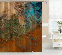 designer artwork abstract art bathroom shower curtain southwest red orange rust brown tan turquoise olive green colors canyon sunset design