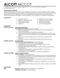 Resume For A Marketing Manager Resume For Study