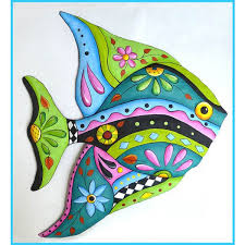 tropical fish wall hanging whimsical painted metal art 25 60 via polyvore featuring home home decor handmade home decor colorful home decor  on whimsical metal fish wall art with tropical fish wall hanging whimsical painted metal art 25 60