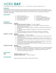 Marketing Resume By Aiden Day Marketing Resume Examples Printable