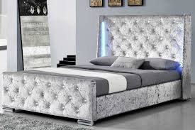 dorchester led lights winged diamante headboard silver crushed velvet fabric bed frame