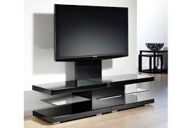 modern short black metal and glass cantilever tv stand with mount
