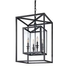 warwick dark bronze four light lantern pendant
