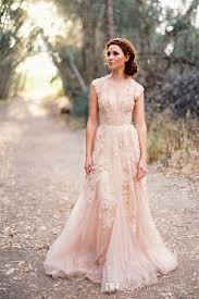 peach wedding dress. Discount Peach Wedding Dresses Sheer Back Deep V Neck Tulle A Line