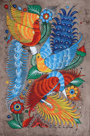Mexican painting of birds & Flowers- art