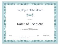 Printable Employee Of The Month Certificates Certificate For Employee Of The Month Blue Chain Design