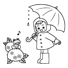 梅雨が大好きカエルのぬりえ塗り絵イラスト素材画像集 梅雨の白黒