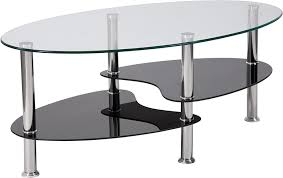 hampden glass coffee table with black