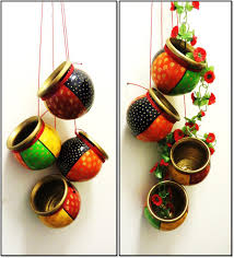 Small Picture Hand painted terracotta hangingSet of 4 for home decor