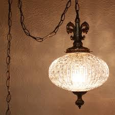 vintage hanging light hanging lamp glass globe chain cord swag lamp