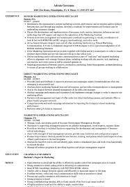 Marketing Operations Specialist Resume Samples Velvet Jobs