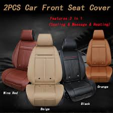 details about 2pcs car front seats cover cushions warm heated massage cooling 3 in 1 leather